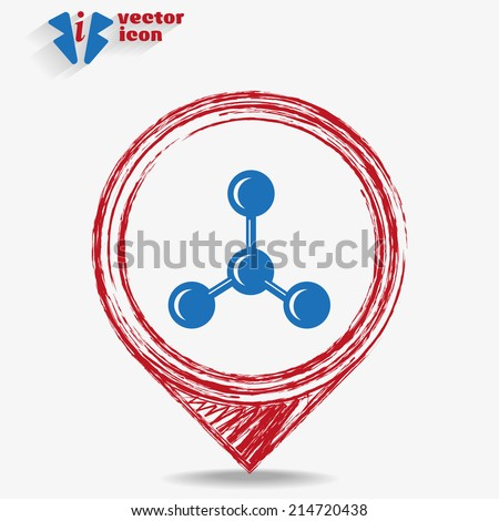 vector blue web icon on a red pointer - stock vector