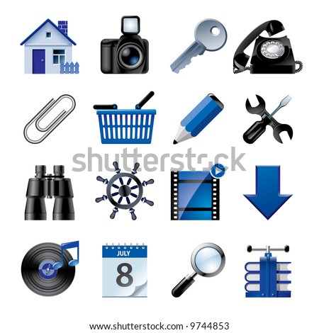 Vector blue website and internet icons 2 - stock vector