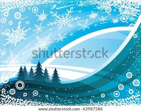 Vector blue Winter background with waves, christmas trees, waves and snowflakes
