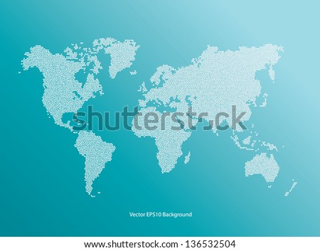Vector blue World Map dotted - stock vector
