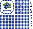 vector - Blueberries & Gingham Seamless Patterns in 3 designs. EPS8 file has 3 check pattern swatches (tiles) that will seamlessly fill any shape. - stock vector