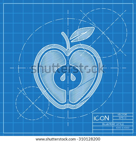 Vector blueprint apple icon engineer architect stock vector 2018 vector blueprint apple icon engineer and architect background malvernweather Gallery