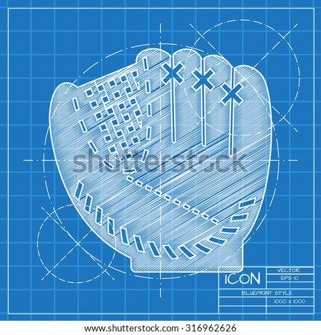 Vector blueprint baseball glove icon on stock vector hd royalty vector blueprint baseball glove icon on engineer or architect background malvernweather Gallery