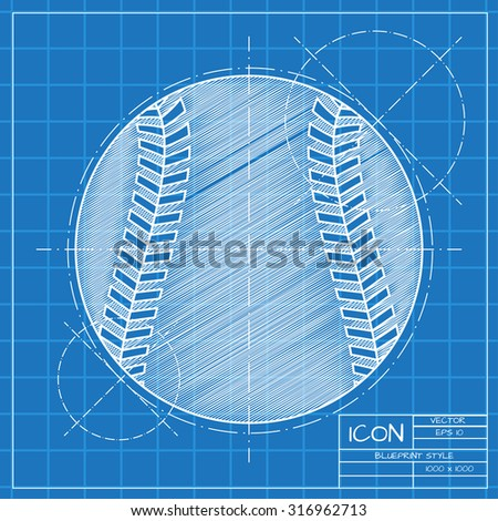 Vector blueprint baseball icon on engineer stock vector 2018 vector blueprint baseball icon on engineer or architect background malvernweather Gallery