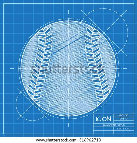 Vector blueprint baseball icon on engineer stock vector 2018 vector blueprint baseball icon on engineer or architect background malvernweather Gallery