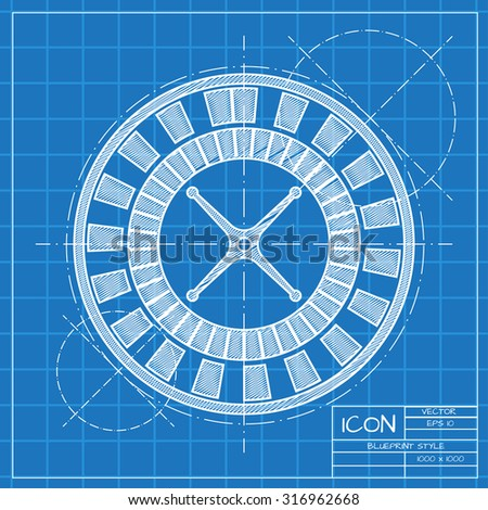 Vector blueprint casino roulette wheel icon on engineer or architect background.