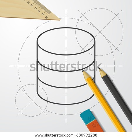 Vector blueprint retro floppy disk icon stock vector 316963169 vector blueprint database icon on engineer and architect background business collection malvernweather Choice Image