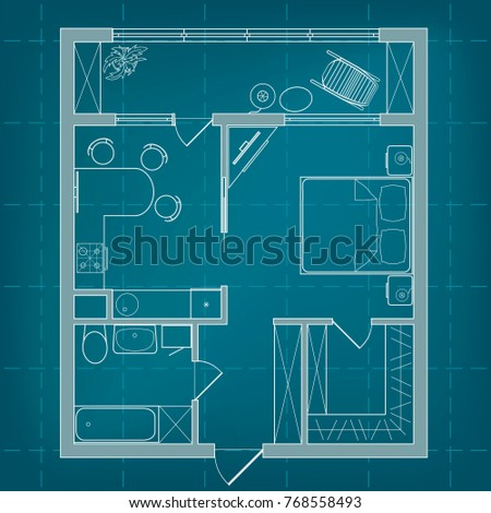 Vector blueprint floor plan studio apartment stock vector vector blueprint floor plan of a studio apartment professional house layout and furniture on background malvernweather Choice Image