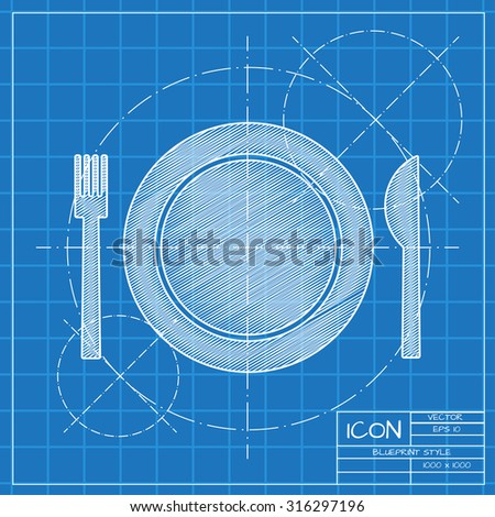 Vector blueprint fork plate knife on stock vector hd royalty free vector blueprint fork plate knife on engineer or architect background malvernweather Choice Image