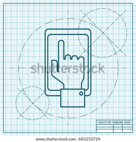 Vector blueprint hand person phone on stock vector 683250724 vector blueprint hand of the person with the phone on engineer and architect background concept malvernweather Gallery