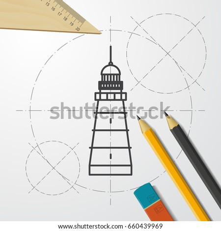 Vector Blueprint Lighthouse Icon On Engineer And Architect Background