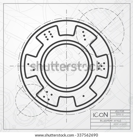 Vector blueprint of chip icon on engineer or architect background