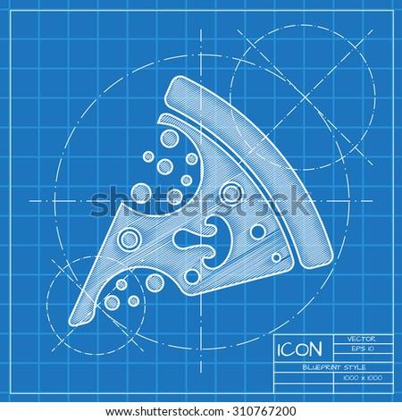 Vector Blueprint Pizza Icon Engineer Architect Stock ...