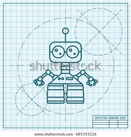 Vector blueprint retro robot toy icon vectores en stock 685593526 vector blueprint retro robot toy icon on engineer and architect background malvernweather Images