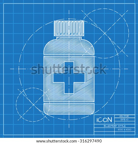 Vector blueprint tablet bottle on engineer or architect background.  . Health icon  - stock vector