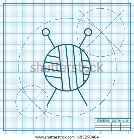 Vector blueprint computer mouse icon on stock vector 688553638 vector blueprint tailor ravel ball of yarn for knitting icon on engineer and architect background malvernweather Choice Image