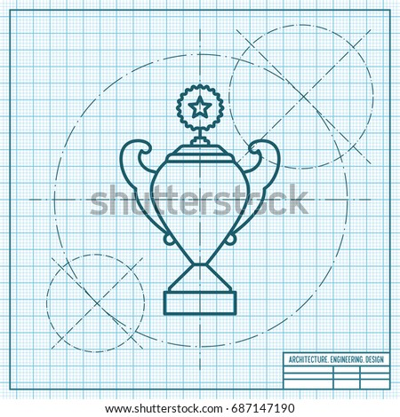Vector blueprint trophy goblet icon on stock vector 2018 687147190 vector blueprint trophy goblet icon on engineer and architect background winner award malvernweather Gallery