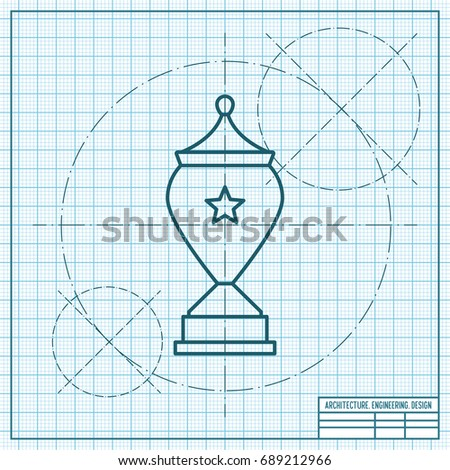 Vector blueprint trophy goblet icon on stock vector 689212966 vector blueprint trophy goblet icon on engineer and architect background winner award malvernweather Gallery