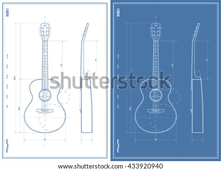 Vector Blueprint with Electric and Acoustic Guitar