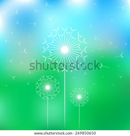 vector blur dandelions and fluff - stock vector