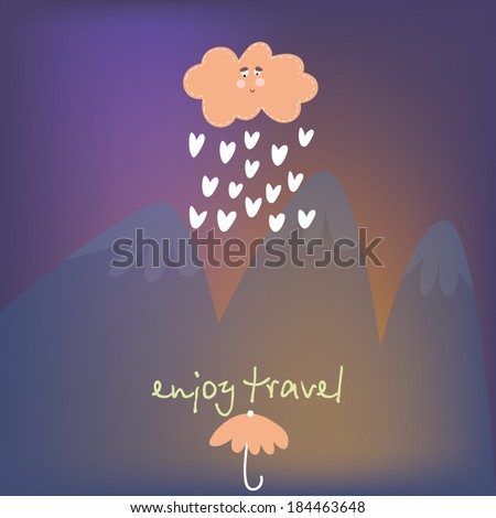 Vector blure landscape with Mountains. Travel design, rain and umbrella