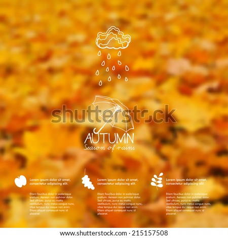 Vector blurred autumn leaves. Autumn unfocused background, web and mobile interface template. Season design. Fall. - stock vector