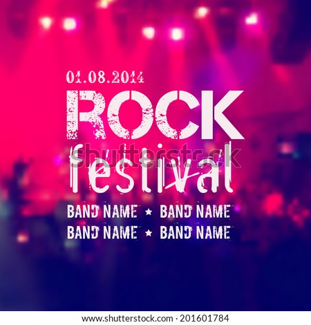 Vector blurred background with rock stage and crowd. Rock festival design template with place for text. - stock vector