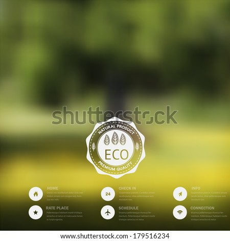 Vector blurred landscape, eco badge, ecology label, nature view, Vector blurred landscape,  forest, eco badge, ecology label, nature view. Forest blur background, web and mobile interface template.  - stock vector