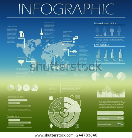 Vector blurred landscape, ecology & waste research infographics template - white ecology and energy symbols  - set of recycle icons, environmental design elements, charts, graphs. Eco design. - stock vector