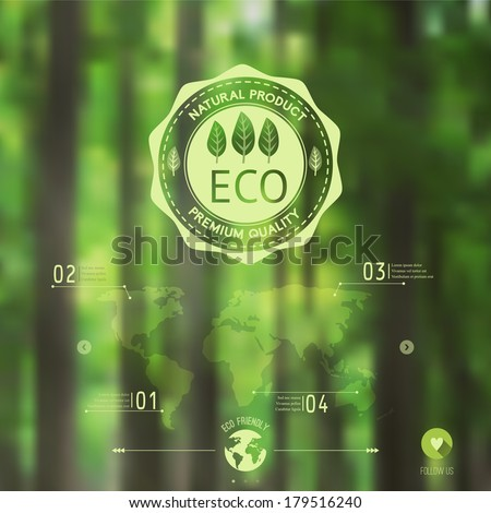 Vector blurred landscape,  forest, eco badge, ecology label, nature view. Forest blur background, web and mobile interface template. Eco design.  - stock vector