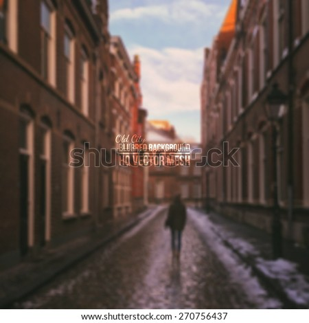 Vector blurred old city background. Abstract vector backdrop. European town background. Landscape background. Vector mesh background. Abstract vector background