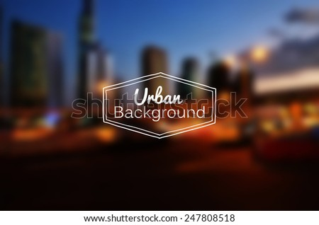 Vector blurred urban background. Night city. Gradient mesh used - stock vector