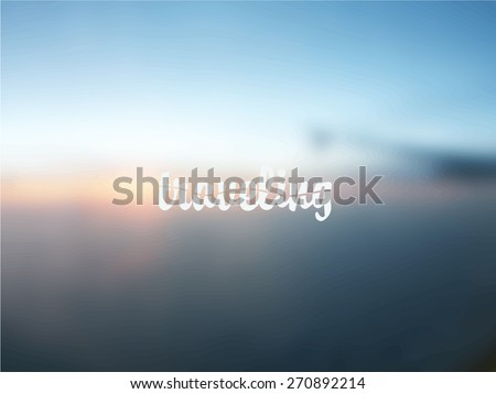 vector blurry postcard with traveling text. Wing of airplane on background - stock vector