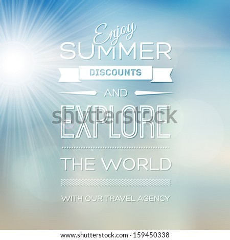 Vector blurry soft summer poster with photographic bokeh effect and bright shining sun. Smooth unfocused film effect. Radiant rays, tropical environment, a bright warm day outdoors. - stock vector