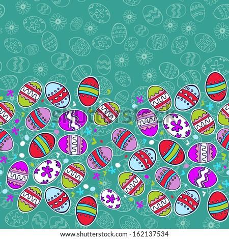 Vector boarder Easter eggs background - stock vector