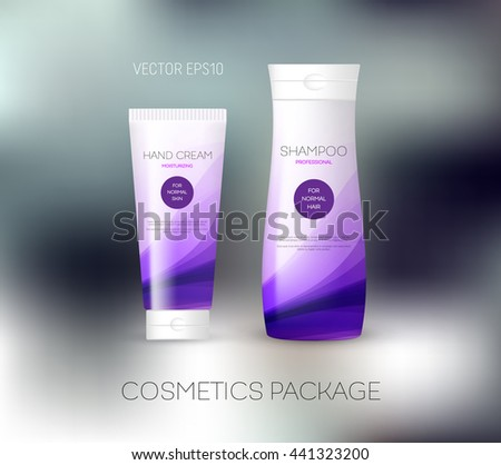 Vector body care cosmetics design concept. Tube cream and shampoo bottle. Packaging template. Purple tones