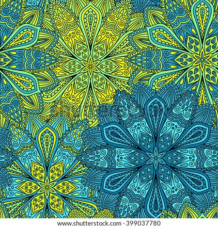 Vector boho chic flower seamless pattern. Elegant floral background for wallpaper, gift paper, fabric print, furniture, curtains. Mandala design element. Unusual flourish ornament. Blue, green, yellow - stock vector