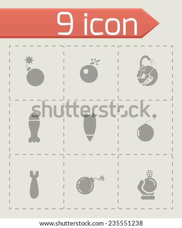 Vector bomb icon set on grey background - stock vector
