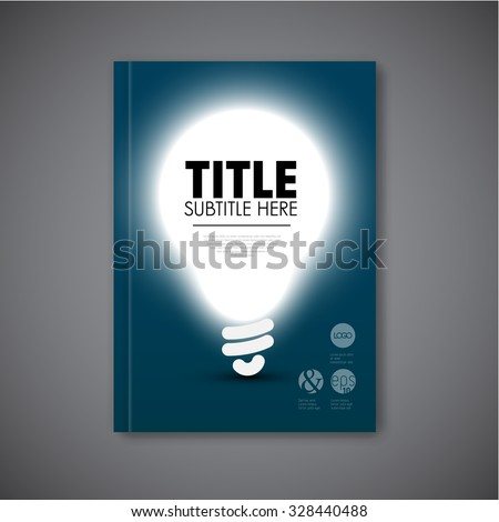 Vector book cover template with shining bulb and place for your content - stock vector