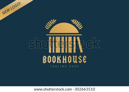 Vector book house template logo icon. Back to school. Education, university, college symbol or knowledge, books stack. Library logo. School building. House logo silhouette. University logo icon - stock vector