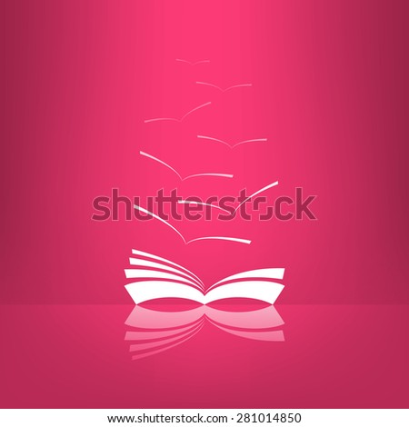 Vector book icon with seagulls made in glassy design with reflection. Learning and library concept. - stock vector