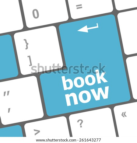 vector Book now button on keyboard
