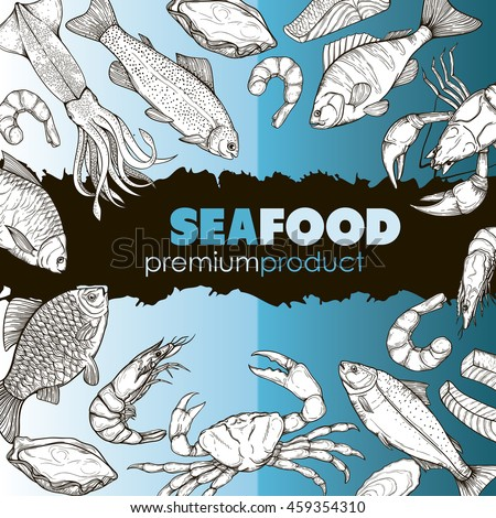 Vector booklet with sketches of sea food: fish, crab, lobster, oysters, squid, salmon, trout. Design brochures, templates, backgrounds, on the marine theme. Linear silhouettes handmade.