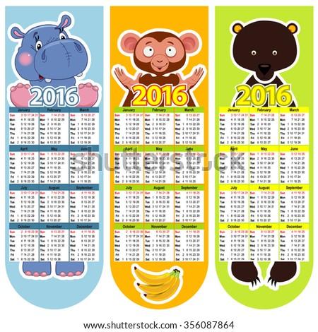 Vector bookmark calendar 2016 witn animals - stock vector