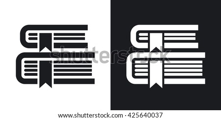Vector Books icon. Two-tone version of Books simple icon on black and white background