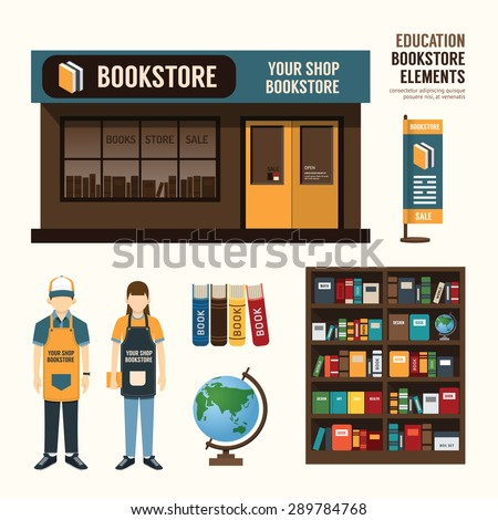 Vector bookstore set design, shop store, package, t-shirt, cap, uniform and front display design/ layout set of corporate identity mock up template. - stock vector