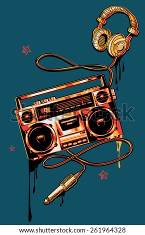 Vector  boom box & headphones in graffiti style - stock vector