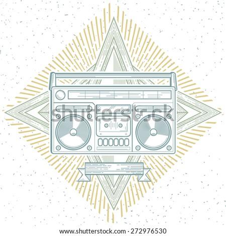 Vector boom box line art music emblem - stock vector