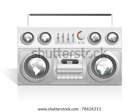 vector boom box with earth globe map speakers - stock vector