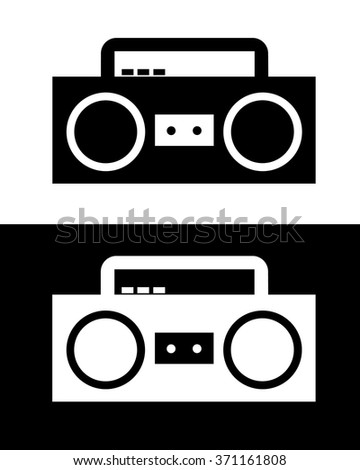 Vector Boombox in Black and Reverse - stock vector